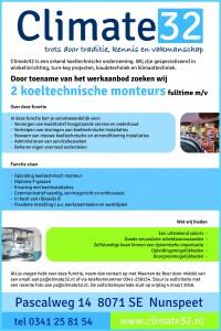 Climate32 koeltechnische monteur